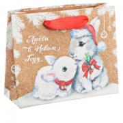 Пакет крафтовый горизонтальный «Любви в Новом Году», 23 × 27 × 8 см