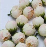 """Бутон цветов """"Пион"""" 2,5 см  кремовый/розовый, 2 шт"""