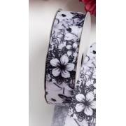 Лента репсовая Цветы 25 мм, белый/серый (1 метр)
