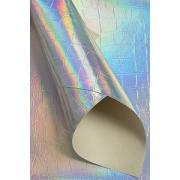 Кожа искусственная голографик 22х30 см, серебро №8 (1 лист)