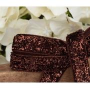 Лента бархатная металлизированная с люрексом 10мм (1метр)  шоколадный
