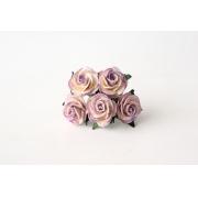Розы из бумаги 2 см (5 шт.) бело-сиреневые