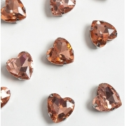 Стразы  в цапах стекло 12 мм Сердечко  (2 шт) розовый персик