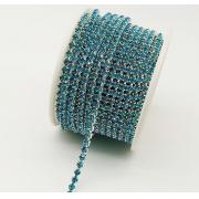 Стразовая лента (цепь) SS8 цвет морской волны (1метр)