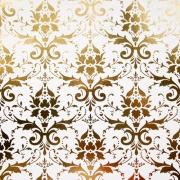 """Бумага с тиснением желтым золотом А4 """"Дамаск"""" на белом (1лист)"""