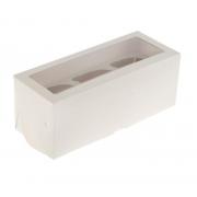 Коробка для 3 капкейков с окном 25х10х10см