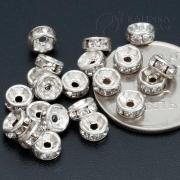 Бусины рондели железные с прозрачными стразами 5х2.2мм, цвет серебро (3шт.)