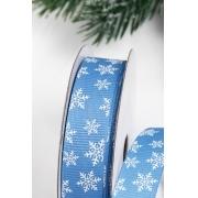 Лента репсовая Снежинки 15 мм, голубой/белый (1 метр)