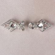 Застёжка декоративная Ромбы, 5,5х2,5см, серебро