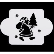 "Трафарет пластик ""Дед Мороз с елочкой"" 10х10 см"
