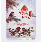 Декупажная карта «Птицы», 29,7 × 21 см