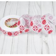 Лента репсовая «Узорные снежинки», 25мм, 1 метр, цвет белый/красный