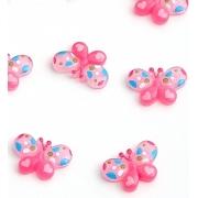 Кабошон пластиковый Бабочка 3 см, светло-розовый (10 шт)