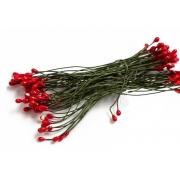 Тычинки на проволоке красный/зелёный (60 шт)