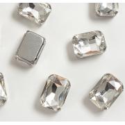 Стразы  в цапах стекло 14 мм Прямоугольник  (2 шт) серебро