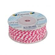 Бечевка GTX-25 100% хлопок 2мм розовый-белый (2м)