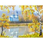 "Канва с рисунком для вышивки бисером 28х34см ""Церковь"" 4113"