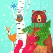 "Салфетка ""Медведь, лиса, олень и птичка"" (3 шт.)"