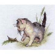 """Набор для вышивания """"Котенок с кузнечиком"""" К-0803 34.5х25.5см"""