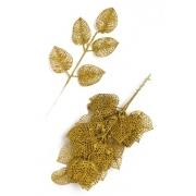 Ветка с глиттером 36х15 см золото