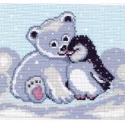 """Канва с рисунком для вышивки крестиком """"Мишка и пингвин"""" 16х20 см"""