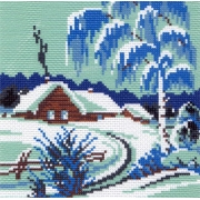 "Канва с рисунком для вышивки крестом 28х37см ""Зимнее утро"" 0198-1"