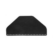Клапан для сумки  кожаный полукруглый 31 см черный