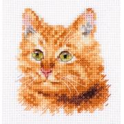 """Набор для вышивания  0-207 """"Животные в портретах. Рыжий кот"""" 8х8 см"""