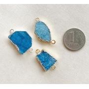 Друз кварца в оправе (1шт.) голубой