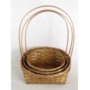 Корзина плетеная бамбук d22xh9.5/34см коричневый