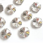 Стразы  в цапах стекло 14 мм Круг  (2 шт) серебро