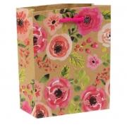 """Пакет крафт """"Акварельные цветы"""" 12х15х6см"""