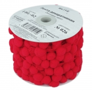 Тесьма с помпонами FBL-02 026 красная (1м)