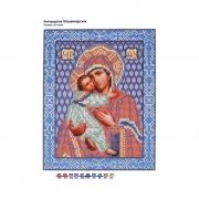 """Ткань с рисунком для вышивания бисером БИС 9008 """"Богородица Владимирская"""" формат А4"""