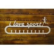 """Медальница спортивная бег """"I love sport"""" девушка 50см"""