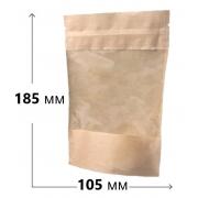 Пакет крафт дой-пак зип-лок с окном 10.5х18.5см (1шт.)