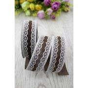 Лента холщовая из мешковины с кружевом 30мм, шоколадный (1метр)