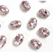 Стразы  в цапах стекло 14 мм Овал  (2 шт) св.розовый
