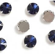 Стразы в цапах стекло 12 мм Круг  (2 шт) т.синий