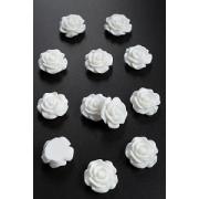 Кабошон пластиковый Розочка 18 мм, белый (5 шт)