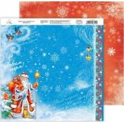 """Бумага двусторонняя """"Дед мороз с подарками"""" 30х30см (2листа)"""