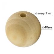 Бусины деревянные неокрашенные 40 мм HBW-28 (1 шт.)