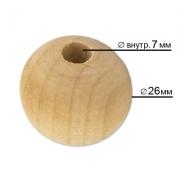 Бусины деревянные неокрашенные HBWS-24 26мм (5шт.)