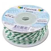 Бечевка GTX-25 100% хлопок 2мм зеленый-белый (2м)