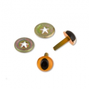 Глазки пластиковые c кошачьим зрачком CAE-12 12мм оранжевые (пара)