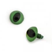 Глазки пластик 14 мм винтовые зеленые (пара)