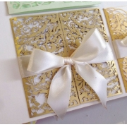 Свадебное приглашение резное светлое золото