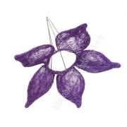 Каркас для букета (сизаль), фиолетовый цветок с острыми лепестками 15см