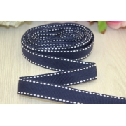 Лента репсовая со строчкой 15мм (1метр) темно-синяя