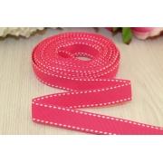 Лента репсовая со строчкой 15мм (1метр) розовая